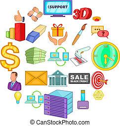 prodotto, icone, set, stile, promozione, cartone animato