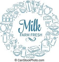 prodotto, latte, banner.