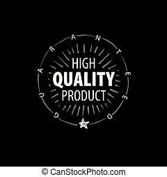 prodotto, mano, vettore, disegnato, marchio, qualità, meglio