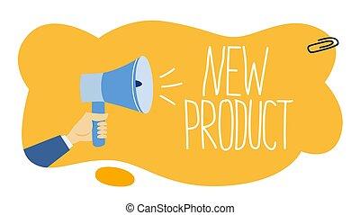 prodotto, maschio, titolo portafoglio mano, promozione, megafono