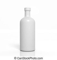 prodotto, mockup, isolato, bottiglia, vuoto, bianco, 3d