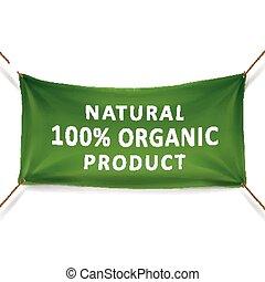 prodotto, naturale, percento, organico, 100, bandiera