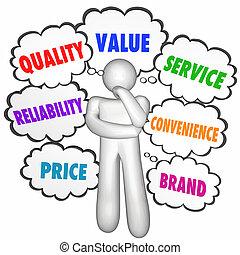 prodotto, nubi, servizio, ditta, valore, pensiero, pensatore, illustrazione, qualità, meglio, 3d