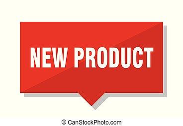 prodotto nuovo, etichetta, rosso