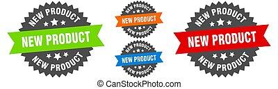 prodotto nuovo, etichetta, set., nastro, segno., rotondo, sigillo