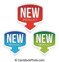 prodotto nuovo, vettore, etichetta