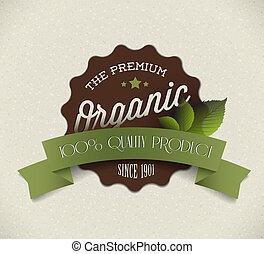 prodotto, organico, vendemmia, etichetta, vecchio, vettore, retro, grunge, rotondo