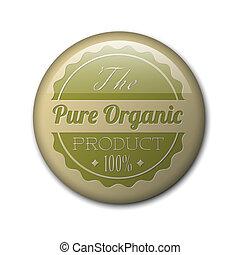 prodotto, organico, vendemmia, vecchio, vettore, retro, grunge, distintivo, rotondo