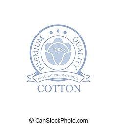 prodotto, premio, disegno, logotipo, qality, cotone