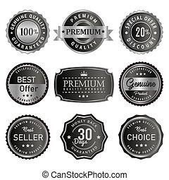 prodotto, premio, vendemmia, vendita, etichetta, distintivo, retro, sigillo, qualità, argento