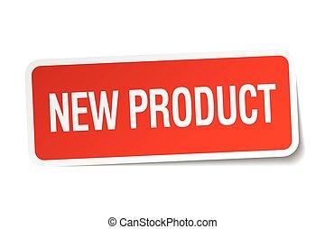 prodotto, quadrato, adesivo, isolato, nuovo, bianco rosso