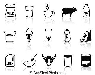 prodotto, set, latte, icone