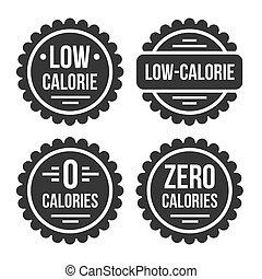 prodotto, set, o, etichetta, fondo., zero, vettore, basso, bianco, caloria