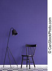 prodotto, set, wall., lampada, nero, viola, posto, sedia, tuo