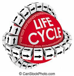 prodotto, spanna, processo, vita, sistema, diagramma, tempo, lifecycle, ciclo