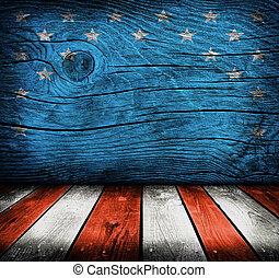 prodotto, stanza, fotomontaggio, bandiera, colori, interno, americano, pronto, vuoto