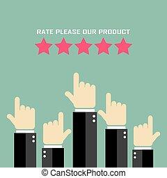 prodotto, valutazione, manifesto