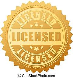 prodotto, vettore, concesso in licenza, sigillo oro