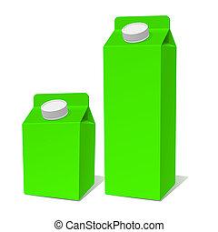 prodotto, vettore, contenitore, set., carta, verde, latte, pacco