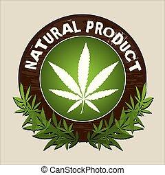 prodotto, vettore, naturale, marijuana, etichetta
