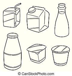 prodotto, vettore, set, latte