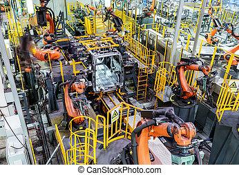 produção carro, linha, de, a, robô