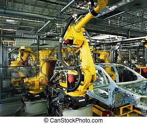 produção carro, linha