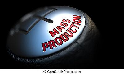 produção massa, ligado, vara engrenagem, com, vermelho, text.