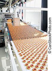 producao, biscoito, em, fábrica