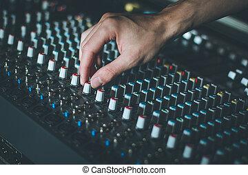 producao, estúdio música, gravando, desk:, misturador de...