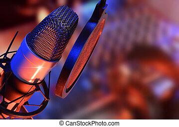 producao, microfone, fones, estúdio, viver