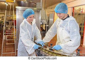 producao, operatives, supervisionando, fábrica