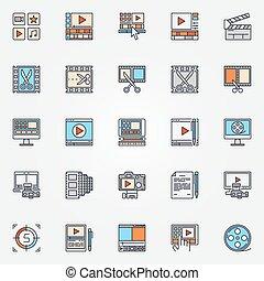 producción, conjunto, vídeo, iconos