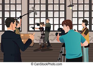 producción de la película, escena
