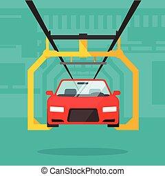 producción del coche, línea, automóvil, fabricación,...
