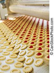 producción, galleta, en, fábrica