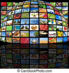 producción, televisión, concepto, tecnología