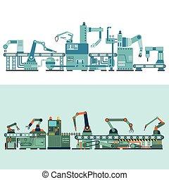 producción, transportador, vector, illustration.
