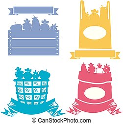 Produce Container Stencil Illustration