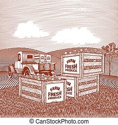 Produce Truck Scene - Woodcut style illustration of a pick...