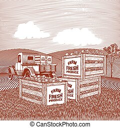 Produce Truck Scene - Woodcut style illustration of a pick...