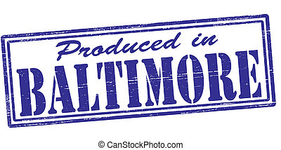 Stamp with text produced in Baltimore inside, vector illustration