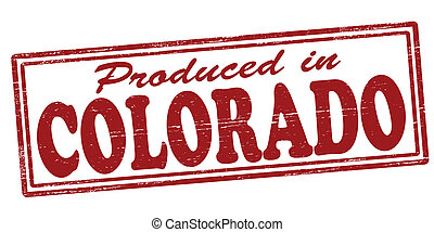 Stamp with text produced in Colorado inside, vector illustration