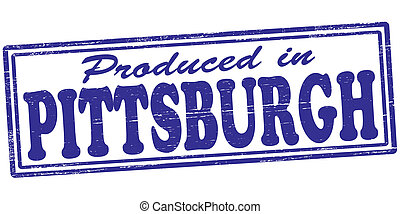 Stamp with text produced in Pittsburgh inside, vector illustration