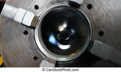 Producing derrick equipment, close-up. CNC Lathe ...