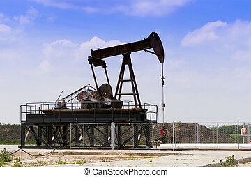 Producing oil wells in the field.