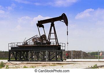 producir, pozos de petróleo, en, el, field.