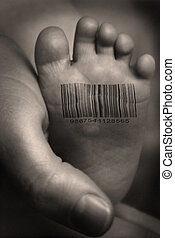 Product - Babies foot with barcode