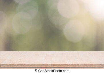 product, bovenzijde, montage., bokeh, hout, groene achtergrond, tafel, display