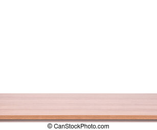 product, bovenzijde, montage., vrijstaand, achtergrond., hout, tafel, witte , display, lege